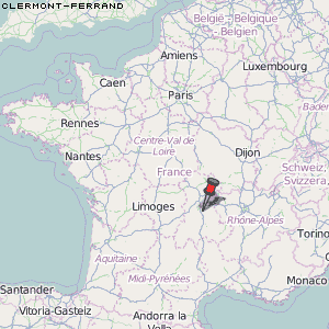 Karte Von Clermont Ferrand Frankreich Breiten Und Langengrad